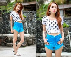 Forever 21 Cropped Top, Vaintage Ombre Shorts, Vaintage Gladiator Flats