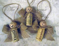 Wine Cork Angels - Mixed Cork, Guaranteed All Different Corks, Burlap, Twine and Wine Cork Angel Ornaments - The Crafty Wineaux Wine Cork Wreath, Wine Cork Ornaments, Wine Cork Art, Wine Cork Crafts, Wine Bottle Crafts, Wine Corks, Diy Christmas Gifts For Kids, Diy Christmas Ornaments, Holiday Crafts