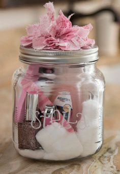 Pedicure In a jar, ideas for bridesmaid gift packs