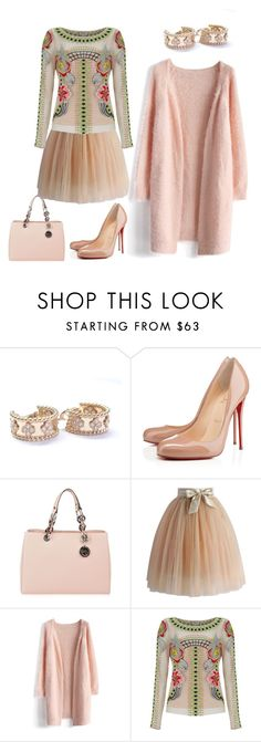 """""""Pretty Peachy"""" by earthtonesclr on Polyvore featuring Van Cleef & Arpels, Christian Louboutin, MICHAEL Michael Kors, Chicwish and Temperley London"""
