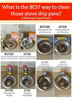 What is really the BEST way to clean stove drip pans? Here's four different cleaning methods and how they compare to each other. So glad they did the work for me! | whatsupfagans.com