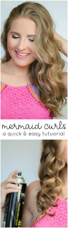 This easy hair tutorial shows you how to create the perfect mermaid curls for spring and summer! This step-by-step hair tutorial makes curling your hair a breeze, and the bouncy curls last all day long! Click through the pin to see the full post by Ashley Brooke Nicholas from @Ashley Brooke Nicholas! #TakeANewLookSpring sponsored by Lunchbox