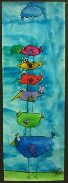After watching a power point on John James Audubon 1st grade created stacking birds in watercolor. The birds had to go all the way to...