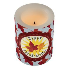 #Happy Thanksgiving Sky and Fall Leaves Flameless Candle - #ThanksgivingDay Thanksgiving Day #Thanksgiving #happy #family #dinners #turkey #chicken