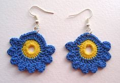 Yellow and blue. Yellow, Blue, Crochet Earrings, Goodies, Jewelry, Knits, Skirt, Stud Earrings, Dots
