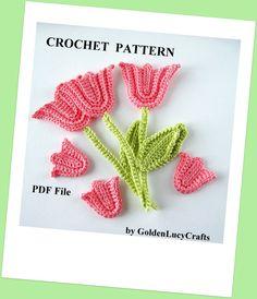 Crochet Pattern Tulip with Stem and Leaf Applique, PDF File, Spring