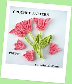 Crochet Pattern Tulip with Stem and Leaf by GoldenLucyCrafts