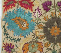 xx..tracy porter..poetic wanderlust...- stitcheryDetail of Ottoman silk floss embroidery on linen ground. From the Vintage Textile archives.