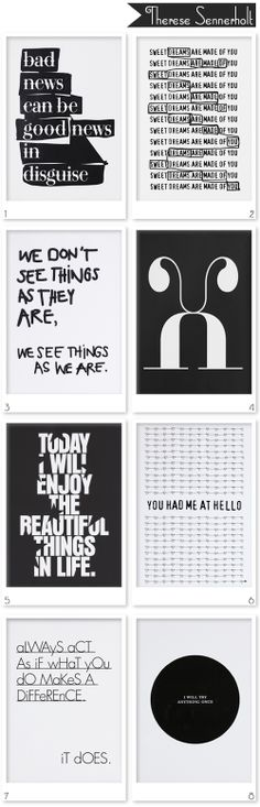 Typographic prints by Therese Sennerhold Designs.