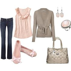 Dark jeans, pink ruffle top, beige cardigan with high waist tie and site flats