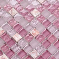 Shop Light Purple Stone Crystal Glass Mosaic Tile Sheet Square Backsplash Washroom of Wall Stickers Kitchen Wall Tiles, 300x300mm, 15x15x8mm, Stone and Glass Blend Mosaic Tile