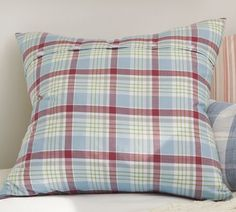 Wilton Plaid Pillow Cover | Pottery Barn