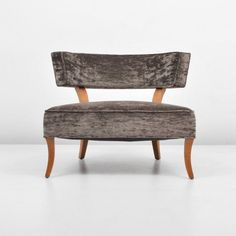 Rare slipper chair by Billy Haines; c. 1950 (Key Word Search: Parzinger, Hollywood Regency, Dorothy Draper, Billy Baldwin, James Mont, lounge/boudoir chair)  Dimensions: 26.25h, 31w, 33d