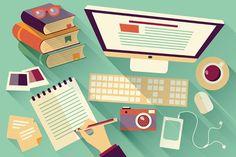 Flat Design Objects, Work Desk, Long Shadow, Office Desk Stock Vector - Illustration of earnings, home: 44988156 Flat Design, Web Design, Graphic Design, Media Design, Creative Design, Design Food, Book Design, Design Desk, Plotting A Novel