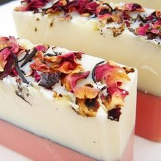 "This is an inspirational floral design for handcrafted soap called ""True Rose Soap Handmade Cold Process"" that is vegan friendly and made by Blushie. Real Rose Petals, Savon Soap, Homemade Soap Recipes, Cold Press Soap Recipes, Rose Soap, Vegan Soap, Soap Packaging, Packaging Design, Cold Process Soap"