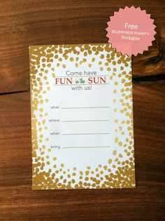 "Free ""Fun in the Sun"" Party Printable Invitation"