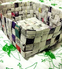 project Pimp Your Trash # 3: news paper weaving boxes crafts diy