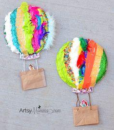 5 Senses Activity making a Paper Plate Hot Air Balloon