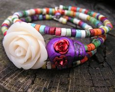 The Original Day of the Dead Bracelet 3 by donnaelizabethdesign, $24.99
