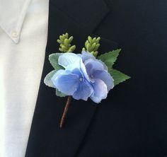 Wedding Boutonniere - Blue, Periwinkle, Brown, Hydrangea, Succulents