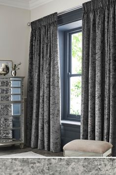 Next Crushed Velvet Pencil Pleat Lined Curtains - Grey Source by amakhaeva Sooner or later, plant di Cool Curtains, Lined Curtains, Colorful Curtains, Curtains With Blinds, Blackout Curtains, Gray Curtains, Velvet Curtains Bedroom, Gray Bedroom Walls, Dream Bedroom