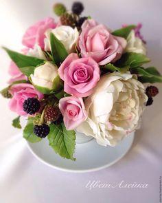 Букетик из холодного фарфора Хорошее настроение - букет из полимерной глины, цветы из полимерной глины