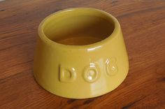 Vintage Nelson McCoy Pottery Dog Bowl Spaniel Feeder Yellow Ware Crock by SmallPotatoVintage on Etsy https://www.etsy.com/listing/495134722/vintage-nelson-mccoy-pottery-dog-bowl