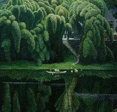 House surrounded by Bottle Brush Trees, Suzhou, China. / Been to Sz couple of times but never seen this place. The Places Youll Go, Places To See, Beautiful World, Beautiful Places, Beautiful Scenery, Amazing Places, Foto Transfer, Bottle Brush Trees, Suzhou