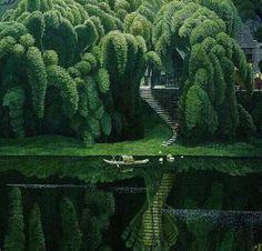House surrounded by Bottle Brush Trees, Suzhou, China