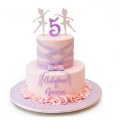 Adeline & Gracia are turning five and their mother asked us to design a cake to match their ballet party. We worked to design this two tier ballerina theme