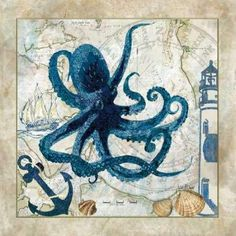 CUADROSTOCK.COM Tienda online de cuadros.Nautical Octopus