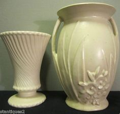 Art Deco Matte Pearl White Stoneware Meets Cream McCoy Pottery Vase click now to see more. Mccoy Pottery Vases, Old Pottery, Vintage Pottery, Pottery Art, White Vases, White Pitchers, Vintage Vases, Pearl White, Stoneware