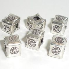 8 7.5mm Square Stamped Flower Hill Tribe Spacer Bead Sterling Silver HT-118 by RoyalMetals for $27.93
