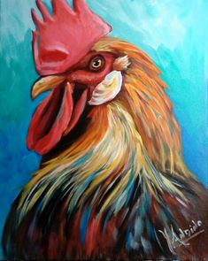 Yvette Andino Art rooster head painting, farm animal 20x16 #Expressionism Roosters, Expressionism, Farm Animals, Art For Sale, Art Projects, Art Pieces, Chicken, Drawings, Painting