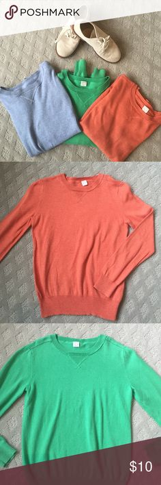 Crewcuts boys pullover shirts size 8 Perfect and super comfortable pullover shirts available in 3 colors, sold separately for $10 or 3 for 25. They are great for dressing up or over a t-shirt or polo for the boy that needs to look good but wants to be comfortable. There is a minor spot on blue long sleeve (see photo) but can probably be treated. Wish they still made these as my son would live in these, even for a boy who loves sports clothes! J. Crew Shirts & Tops Sweaters