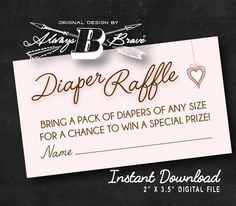 Pink Baby Shower Diaper Raffle  Instant Download by AlwaysBBrave