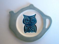 Ceramic Owl Tea Bag Holder Dish Blue or Brown by modclay