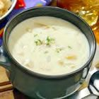 Clam Chowder (clams, onion, celery, potatoes, carrots, butter, all-purpose flour, half-and-half cream, wine vinegar)
