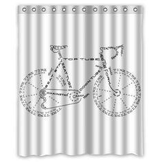 MIER M Popular Bath Bicycle Bathroom Shower Curtain 72