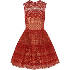 Elie Saab Cotton-blend guipure lace mini dress (5,695 CAD) ❤ liked on Polyvore featuring dresses, elie saab, burgundy, short dresses, red skater skirt, red party dresses, burgundy lace dress and burgundy skater skirt