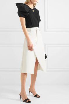 Stella McCartney   Gathered taffeta-trimmed cotton-jersey #Tshirt #asymmetric #top #skirt