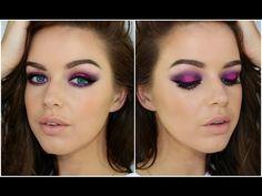 Neon Purple/Pink eye & Nude lip Tutorial - YouTube