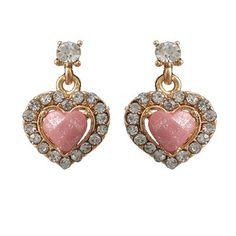 Brinco dourado coração com resina rosa e strass