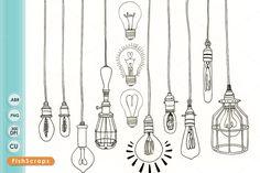 Vintage Edison Light Bulb Clip Art by FishScraps on @creativemarket