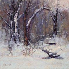 "Barbara Jaenicke ~ ""Winter Walk"" ~ Pastel on Panel 12 x 12"