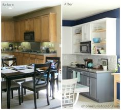 Inexpensive Kitchen Redecorate   Painted Cabinets, New Hardware, Stenciled  Floor, Tiled Backsplash.