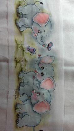 Russian Chain Stitch in Hand Embroidery (Step By Step & Video) Baby Painting, Painting For Kids, Drawing For Kids, Fabric Painting, Elephant Quilt, Baby Applique, Baby Sheets, Jar Art, Painted Books