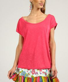 Look at this #zulilyfind! Red Cap-Sleeve Scoop-Neck Tunic by Peace and Love #zulilyfinds