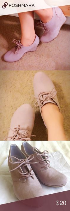 Graceland Elegant Lilac Lace-up Wedge EUC Very good condition, only worn once. Slight scratch at left toe cap (see photo). Do not come with original box.  **Manmade upper and lining, rubber sole.  **Heel approx. 7.5cm. Graceland Shoes Lace Up Boots