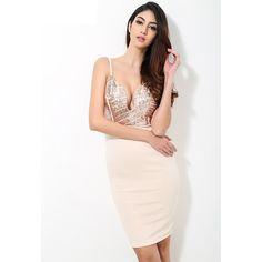 Evelyn Belluci Beige Sequin V Neck Plunge Party Dress - Hangers and Hydes